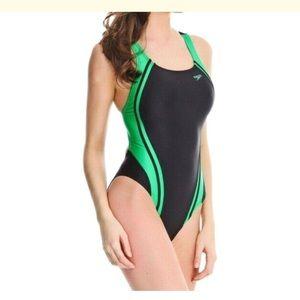 NEW Speedo Black/Green One-Piece Swimsuit - 10